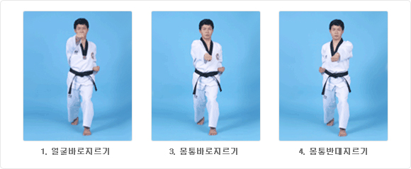 1- Olgul Baro Jureugi, 3- Momtong Baro Jureugi, 4-  Momtong Bandae Jireugi